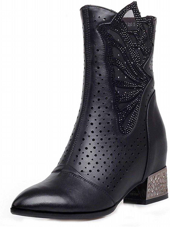 ZHRUI Single Stiefel in die Dicke Schuhe mit der Martin Cool Stiefel Stiefel Spitz Kuh Hohl Fashion Stiefel (Farbe   Schwarz, Gre   35)