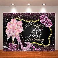 ZPC 7x5ftピンクローズゴールドハッピー40歳の誕生日の背景キラキラフラワーハイヒールバルーン40誕生日パーティーケーキテーブル写真スタジオデコレーションバナー