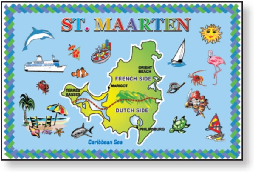 Magnets St. Maarten Blue Metal Animer and price revision Free Shipping New Map Souvenir Refrigerator