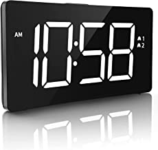 """Epeios Digital Alarm Clocks, LED Display Clock with Snooze Function and 6 Brightness Dimmer, 5"""" Curved Screen,Big White Di..."""