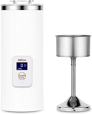 iMiGoo Portable Coffee Maker 8 OZ - Single Cup Coffee Percolator - Tea Maker - Electric Kettle - 304 Stainless Steel - AC 110-120V White