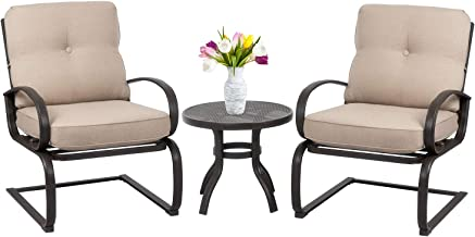 Shintenchi 3-Piece Outdoor Patio Bistro Set, C-Springs Metal Motion Chairs and Bistro Table Set, Round Table Cafe Furnitur...