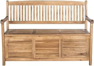 Safavieh Outdoor Collection Brisbane Teak Brown Storage Bench