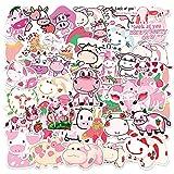 CHUDU Pegatina de Dibujos Animados de Vaca Rosa Fresa Kawai, Equipaje de Viaje, Nevera, portátil, Impermeable, Pegatina clásica Fresca 50 Uds