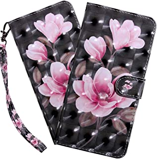 HMTECHUS Samsung A10E Case 3D Luxury Pink Flower PU Leather Wallet Flip with Card Holder Kickstand Book Style Magnetic Cover Compatible with Samsung Galaxy A10E,Pink Flower Black BX