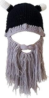 oumeiou Creative Winter Hat Beard Hat, Knitting Wool Hair Beanie Hat Knit Hat Winter Warm Hat Windproof Funny for Men & Women