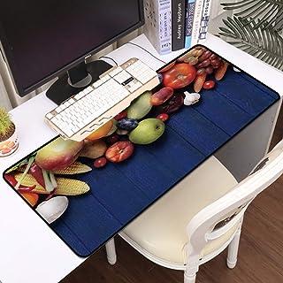 Luoquan Alfombrilla Raton Grande Gaming Mouse Pad,Coseche Frutas y Verduras orgánicas Frescas en una Mesa de Madera Azul O...