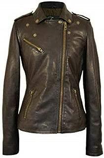 Women's Biker Racer Bomber Classic Distressed Brown Real Sheepskin Leather Jacket