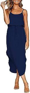 AJUMKER Women's Casual Sleeveless Adjustable Spaghetti Straps Sundress Midi Dress S-2XL
