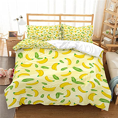 QDoodePoyerFunda Nórdica 240x220cmCama con 1 Funda de Almohada 50x75 cm Funda de Edredón de Microfibra Suave y Transpirable Juego de Cama para niñas Amarillo Moda Fruta plátano