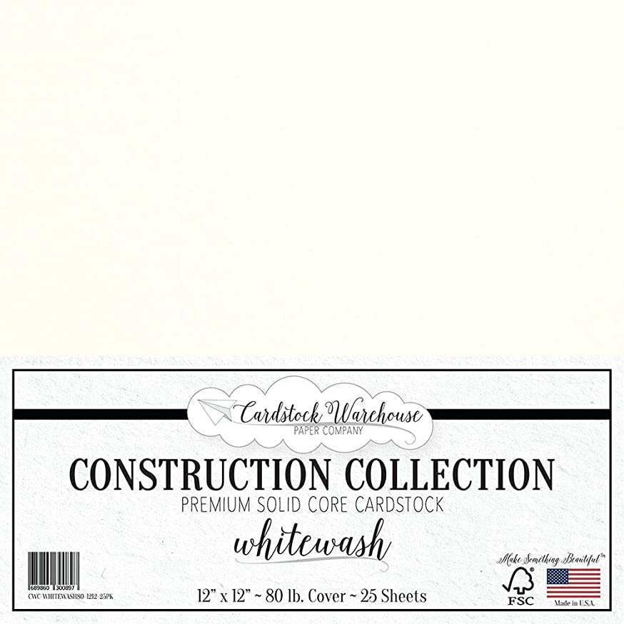 Whitewash White Cardstock Paper - 12 x 12 inch Premium 80 LB. Cover from - 25 Sheets from Cardstock Warehouse