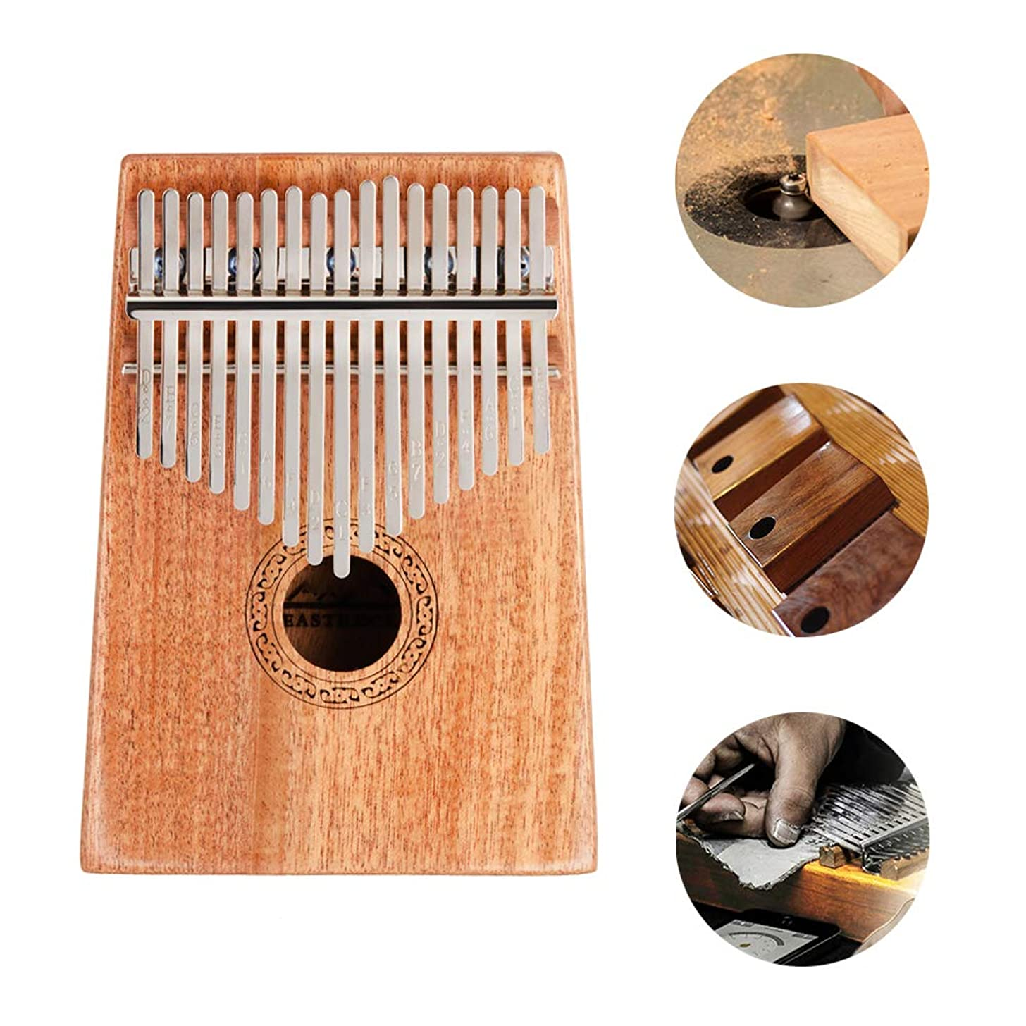 EastRock Kalimba 17 Keys Thumb Piano for Kids Mahogany Body Portable Mbira Finger Piano with Study Instruction and Tune Hammer for Beginners