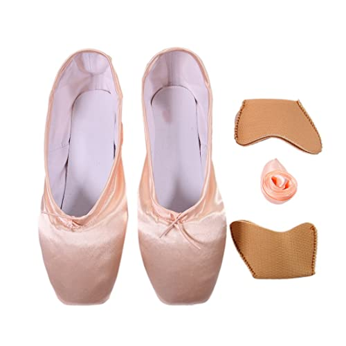 ab1af543b9b DoGeek Ballet Pointe Shoes Satin Ballet Shoes for Grirls Womens Ladies with  Toe Pads