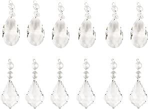 BIHRTC 12 Pcs 76mm Hanging Clear Crystal Candleholder Chandelier Drop Pendants Parts Beads Prisms Suncatchers(6pcs Teardrop + 6 pcs Maple Leaf Crystal Pendants)