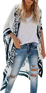 Macondoo Women's Summer Bohemian Loose Print Cardigan Coat Kimono Cover Up