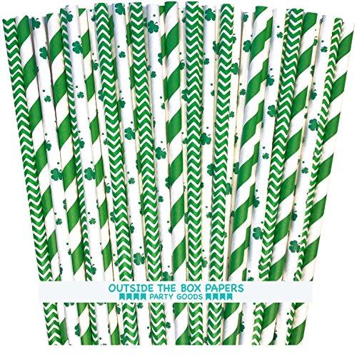 St. Patrick's Day Shamrock, Stripe and Chevron Irish Theme Paper Straws - Green and White - 7.75 Inches - 100 Pack