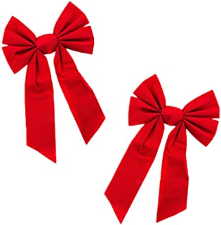 Red Velvet 6 Loop Bow for Wreath Decorations, Gifts & Presents Wrapping, Hanging Door Decor with Wire, Christmas Tree, Party Supply (8