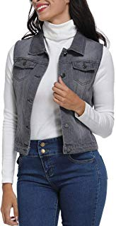 MISS MOLY Sleeveless Jeans Jacket for Women Washed Denim Vest Button Up w 2 Chest Flap Pockets