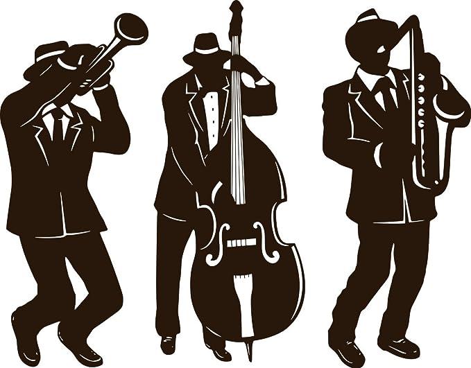 Vinilo adhesivo de pared, diseño de silueta de banda de jazz (tamaño grande: 140 cm de altura de cada 140 cm): Amazon.es: Hogar