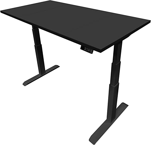 EasyErgo Rise Executive Economy 60x30 Ultra Powerful Height Adjustable Electric Standing Desk With USB Controller Suitable For Computer Craft Office Home Workstation Black Top On Black Bas