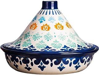 Tagine Olla de cerámica Grande, Tagine marroquí Hecho a Mano con Tapa en Forma de Cono, Base de 10