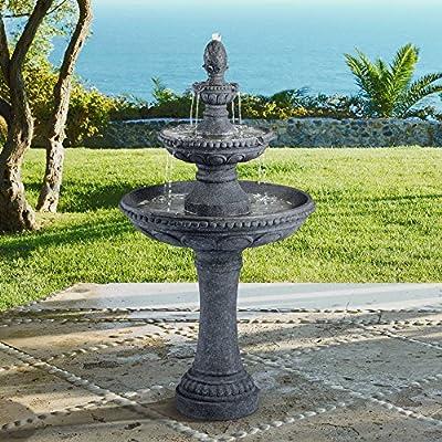 "John Timberland Pineapple 44"" High Grey Stone 3-Tier Outdoor Fountain"