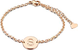 "THREE KEYS JEWELRY Rose Gold/Silver Tone Initial Bracelet 316L Stainless Steel Disc Pendant Letter Alphabet(6.5""+1.5"")"