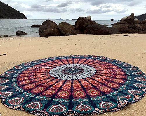 raajsee Indien Strandtuch Rund Mandala Hippie/Groß Indisch Rundes Baumwolle/Boho Runder Yoga Matte Tuch Meditation/Tischdecke Rund aufhänger Decke Picknick Teppich 70 inch (Blaue orange Mandala)