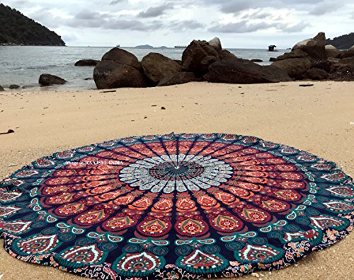 Raajsee Blue Orange Mandala Round Beach Tapestry Hippie/Boho Mandala Beach Blanket Roundie/Indian Cotton Throw Bohemian Round Table Cloth/ Home Decor/Yoga Mat Meditation Picnic Rugs 70 inch Circle
