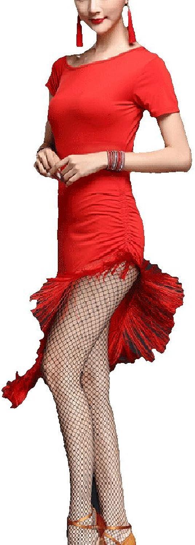 Whitewed Gradient Ruffle Split Leg Latin Salsa Jive Dance Sport Costumes Dresses