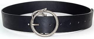 MoYoTo Women's 1.49? Wide Vintage Western Leather Belt Circle Snake Buckle Belts