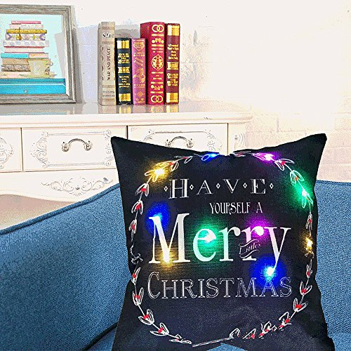 MUMENG - 17 x 17 pouces Coloré Style de Noël Coton Lin Carré Throw Pillow Housse de coussin décor Taie d'oreiller Coussin Case avec fonction lumineuse pour canapé, lit, chaise (oreiller non inclus)