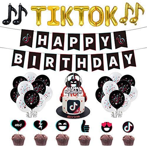57 Piezas TIK Tok Kit de decoración para Fiestas - TIK Tok Decoración para Fiesta de cumpleaños Banner de Feliz cumpleaños TIK Tok Note Globo de Aluminio Globo de látex Adornos para Tartas TIK Tok