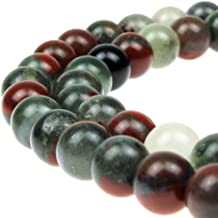 JARTC Natural African Blood Jade Round Loose Beads for Jewelry Making DIY Bracelet Necklace (4mm)