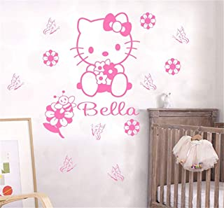 pegatina de pared 3d pegatina de pared frases Nombre personalizado personalizado Hello Kitty Kids Nursery Room Palabras personalizadas para niñas Niños Habitación