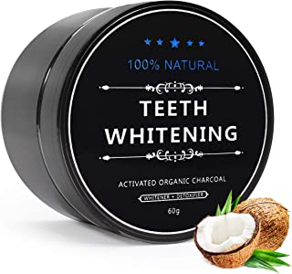 Effie Lancelot Activated Charcoal Teeth Whitening Powder, 100% Natural Black Carbon Coconut Stain Remover with No Sensitivity, Brilliant White Teeth, Fresh Breath, FDA Approved (60g, 2.12 oz)