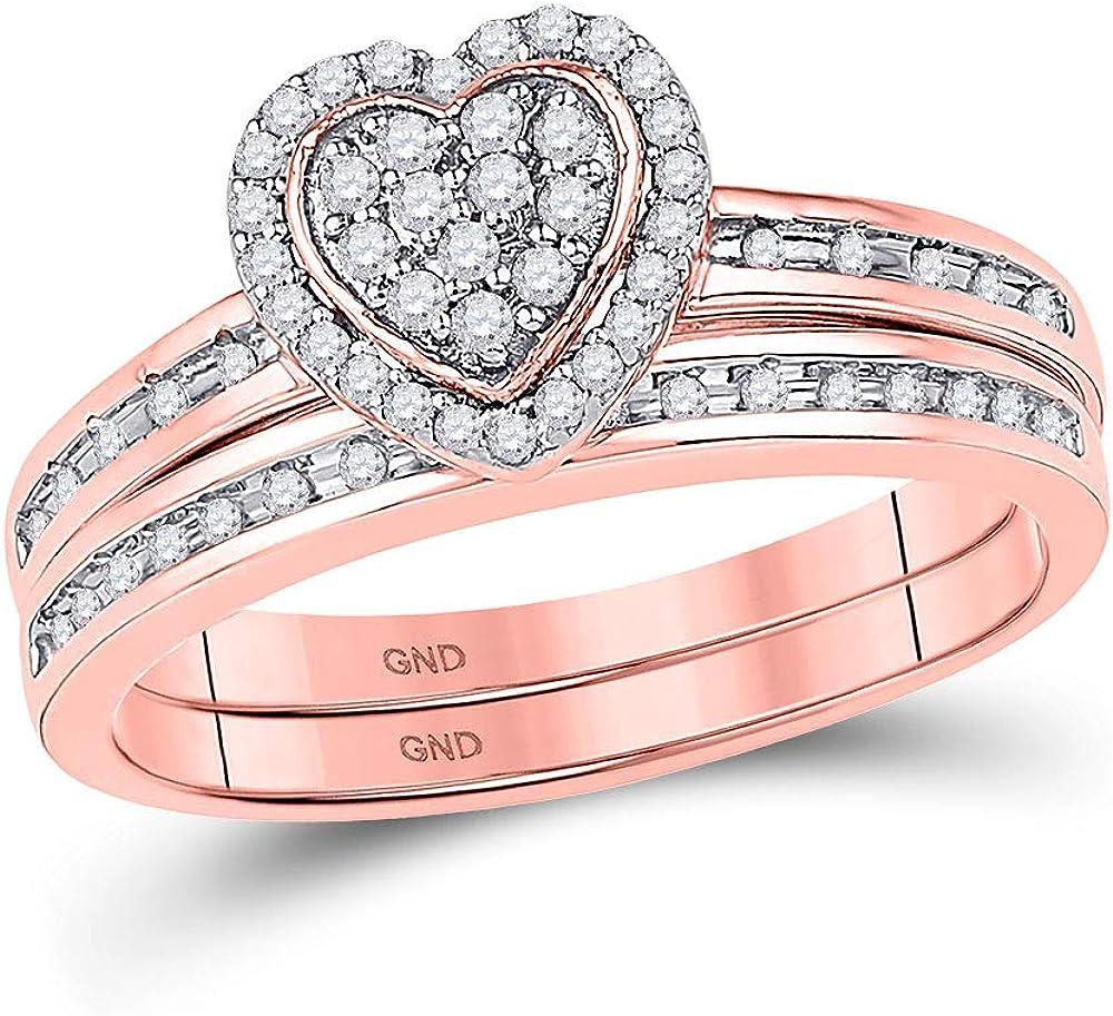 10kt Rose Gold Round Diamond Heart Bridal Wedding Ring Band Set 1/4 Cttw