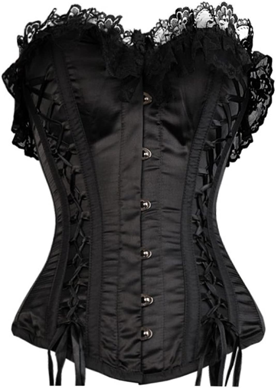 Black Satin Frills Gothic Burlesque Bustier Waist Training Overbust Corset Top