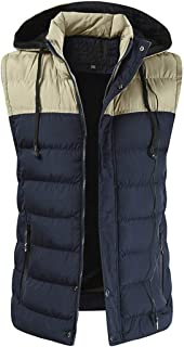 Vest Men's Sleeveless Slim Fit Hooded Waistcoat Zipper Puffer Jacket Spring and Autumn Lightweight Men's Waistcoat Daily C...