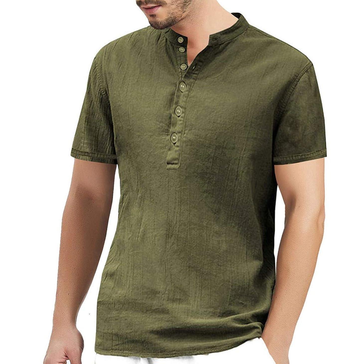 く桃誕生日夏服 メンズ Tシャツ Rexzo ファッション シンプル 綿麻 シャツ 純色 無地 ブラウス すずしい 着心地良い シャツ メンズ着心地良いtシャツ 丸首半袖 ボタン ティーシャツ 吸汗速乾 スポーツシャツ 部屋着 通勤 デイリーに大活躍