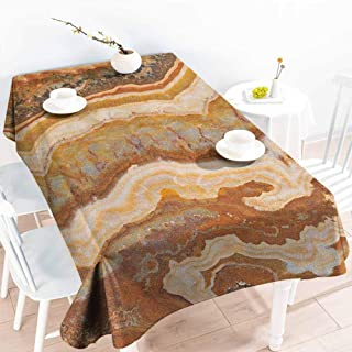 Willsd Small Rectangular Tablecloth,Marble Onyx Marble Motif Travertine Mineral Formed Watercolor Ink Textured Illustration,Table Cover for Dining,W54x90L Multicolor