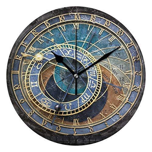 AmyyEden Prag Astronomische Uhr Holz Wanduhr Dekorative 30,5 cm Runde Uhr für Zuhause Büro Schule