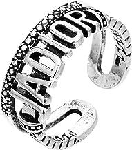 Punk Retro Alfabet Zilveren Munt Ring Trendy Zilver Kleur Geometrische Klok Patroon Opening Verstelbare Ring Hiphop Sierad...