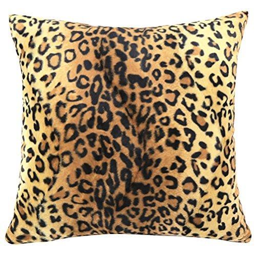 Funda de cojín cuadrada con estampado de leopardo y animales, funda de almohada de felpa corta, funda de almohada, funda de almohada antideslizante para sofá, sofá, silla, asiento trasero, 45,7 x 45,7 cm