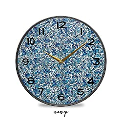 YOLIYANA Round Hanging Clock, Turkish Ceramic Art Swirled Nature Leaves Middle Eastern Design Print Battery Operated, Rustic Wall Decor for The Living Room, Kitchen, Bedroom, and Patio 9.5