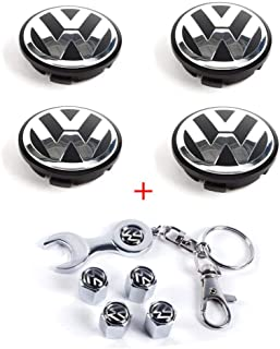 CCBaseball Set of 4 - Volkswagen Wheel Center Caps Emblem, 65mm VW Rim Hub Cover Logo + Set of 4 Tire Valve Covers for VW Volkswagen Golf Jetta GTI Passat CC