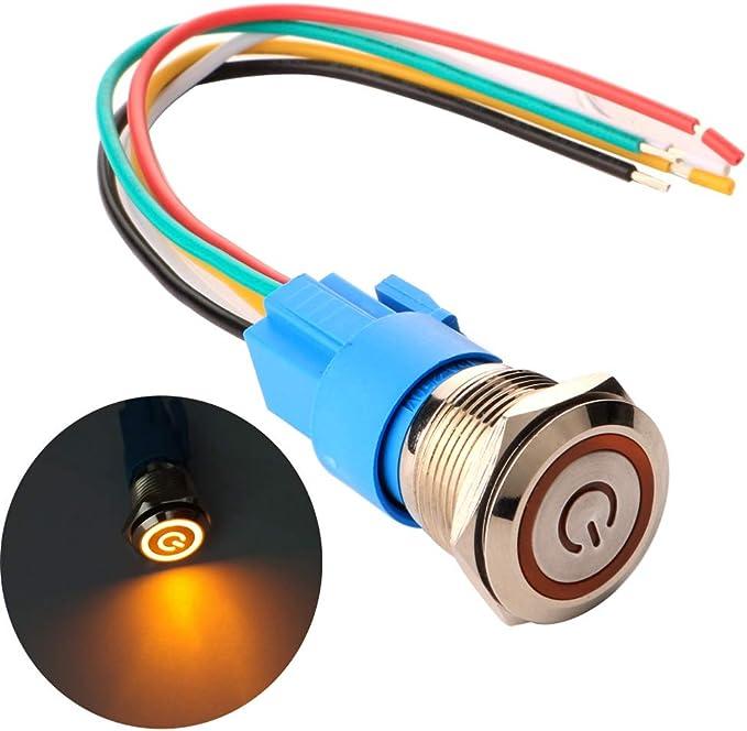 69 opiniones para Gebildet 19mm Enclavamiento Pulsador de Botón Metálico Interruptores Acero