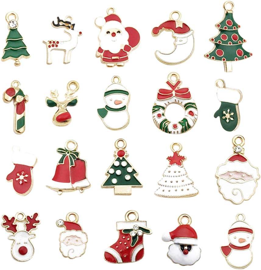 Vosarea 20 Piezas Colgantes Encantos de Navidad en Forma de Papá Noel Luna Árbol de Navidad para Collar Pulsera Fabricación de Joyas (color aleatorio)