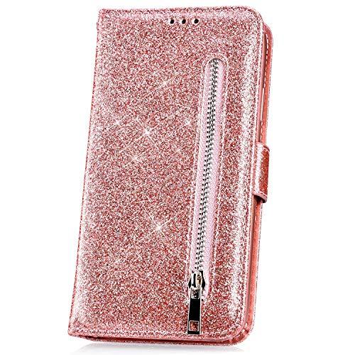 JAWSEU Kompatibel mit Samsung Galaxy J4 Plus Hülle Bling Glitzer Hülle Leder Flip Hülle Tasche Handyhülle Glänzend Diamant Lederhülle Brieftasche Wallet Schutzhülle Handytasche Ständer,Rose Gold