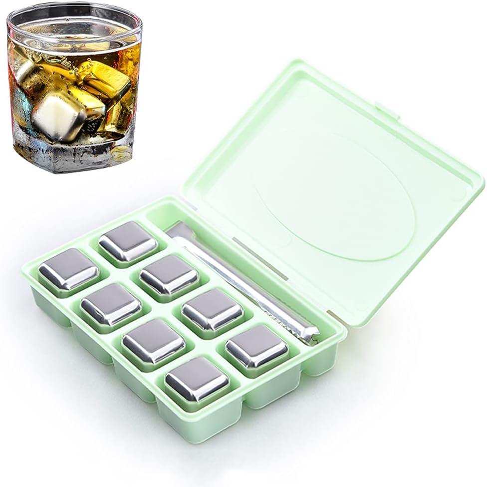 304 Cubo Congelado Rápido De Metal Bebida Whisky Para El Hogar Café Cerveza Jugo Piedra Compresa Hielo Para Quemaduras Solares Lavable Reutilizable Enfriamiento Rápido Compresa(Size:8 pcs,Color:green)